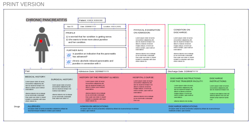 Discharge summary improved with text analysis and layout design